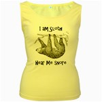 Sloth Women s Yellow Tank Tops Front