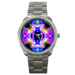 Animal Design Abstract Blue, Pink, Black Sport Metal Watches
