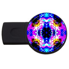 Animal Design Abstract Blue, Pink, Black USB Flash Drive Round (4 GB)