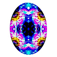 Animal Design Abstract Blue, Pink, Black Oval Ornament (Two Sides)