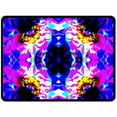 Animal Design Abstract Blue, Pink, Black Double Sided Fleece Blanket (Large)