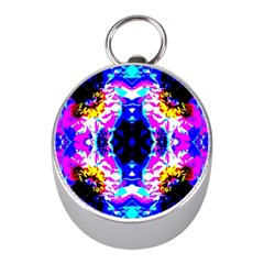 Animal Design Abstract Blue, Pink, Black Mini Silver Compasses