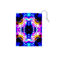 Animal Design Abstract Blue, Pink, Black Drawstring Pouches (Small)