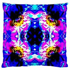 Animal Design Abstract Blue, Pink, Black Large Flano Cushion Cases (Two Sides)