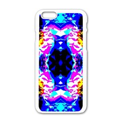 Animal Design Abstract Blue, Pink, Black Apple Iphone 6/6s White Enamel Case