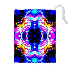 Animal Design Abstract Blue, Pink, Black Drawstring Pouches (Extra Large)