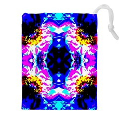 Animal Design Abstract Blue, Pink, Black Drawstring Pouches (XXL)