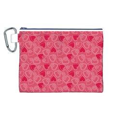 Valentine Hearts Pattern Pink Canvas Cosmetic Bag (L)