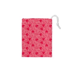 Valentine Hearts Pattern Pink Drawstring Pouches (XS)