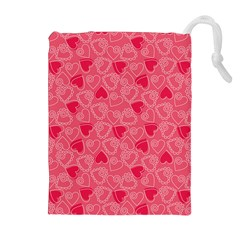 Valentine Hearts Pattern Pink Drawstring Pouches (Extra Large)