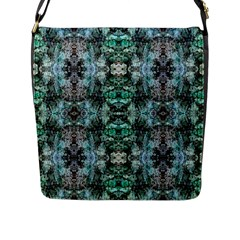 Green Black Gothic Pattern Flap Messenger Bag (L)