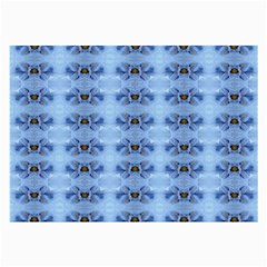 Pastel Blue Flower Pattern Large Glasses Cloth (2-Side)