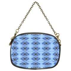 Pastel Blue Flower Pattern Chain Purses (One Side)