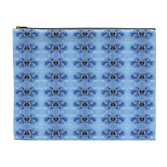 Pastel Blue Flower Pattern Cosmetic Bag (XL)