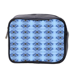Pastel Blue Flower Pattern Mini Toiletries Bag 2-Side