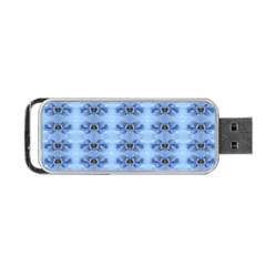 Pastel Blue Flower Pattern Portable USB Flash (Two Sides)