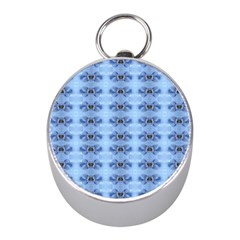 Pastel Blue Flower Pattern Mini Silver Compasses