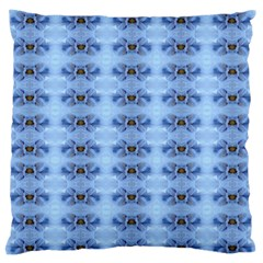 Pastel Blue Flower Pattern Large Flano Cushion Cases (One Side)
