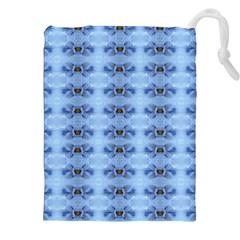 Pastel Blue Flower Pattern Drawstring Pouches (xxl)