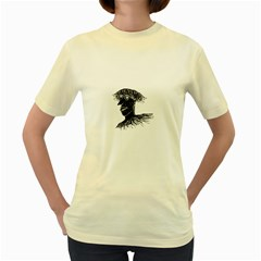 Cool Young Long Hair Man With Glasses Women s Yellow T-Shirt