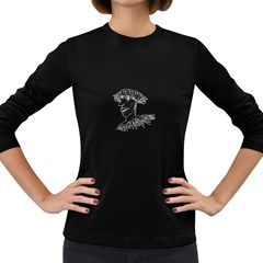Cool Young Long Hair Man With Glasses Women s Long Sleeve Dark T-Shirts