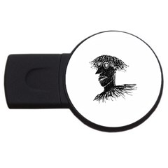 Cool Young Long Hair Man With Glasses USB Flash Drive Round (4 GB)