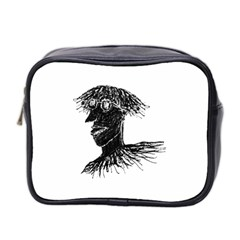 Cool Young Long Hair Man With Glasses Mini Toiletries Bag 2-Side