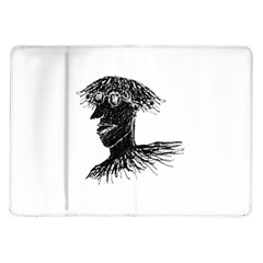 Cool Young Long Hair Man With Glasses Samsung Galaxy Tab 10.1  P7500 Flip Case
