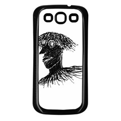 Cool Young Long Hair Man With Glasses Samsung Galaxy S3 Back Case (Black)