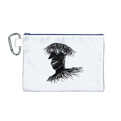 Cool Young Long Hair Man With Glasses Canvas Cosmetic Bag (m)