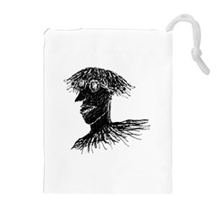 Cool Young Long Hair Man With Glasses Drawstring Pouches (Extra Large)