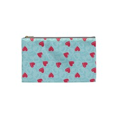 Valentine Hearts Pattern Light Blue Cosmetic Bag (Small)