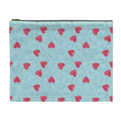 Valentine Hearts Pattern Light Blue Cosmetic Bag (XL)