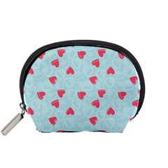 Valentine Hearts Pattern Light Blue Accessory Pouches (Small)