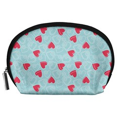 Valentine Hearts Pattern Light Blue Accessory Pouches (Large)