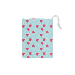 Valentine Hearts Pattern Light Blue Drawstring Pouches (xs)