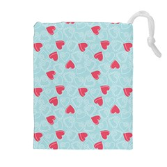 Valentine Hearts Pattern Light Blue Drawstring Pouches (extra Large)