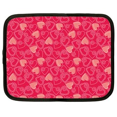 Red Pink Valentine Pattern With Coral Hearts Netbook Case (XXL)