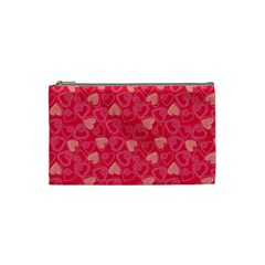 Red Pink Valentine Pattern With Coral Hearts Cosmetic Bag (Small)