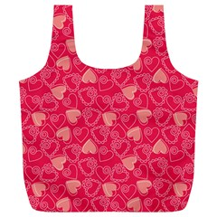 Red Pink Valentine Pattern With Coral Hearts Full Print Recycle Bags (L)