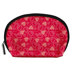 Red Pink Valentine Pattern With Coral Hearts Accessory Pouches (Large)
