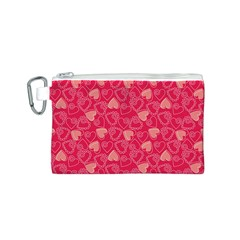 Red Pink Valentine Pattern With Coral Hearts Canvas Cosmetic Bag (s)
