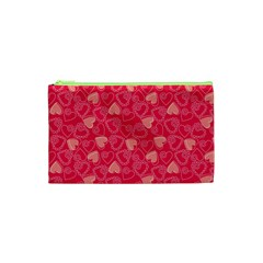 Red Pink Valentine Pattern With Coral Hearts Cosmetic Bag (XS)