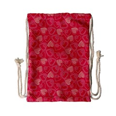 Red Pink Valentine Pattern With Coral Hearts Drawstring Bag (small)