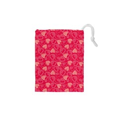 Red Pink Valentine Pattern With Coral Hearts Drawstring Pouches (xs)