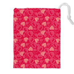 Red Pink Valentine Pattern With Coral Hearts Drawstring Pouches (XXL)