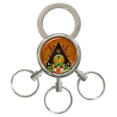 Surfing, Surfboard With Flowers And Floral Elements 3-Ring Key Chains