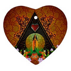 Surfing, Surfboard With Flowers And Floral Elements Heart Ornament (2 Sides)
