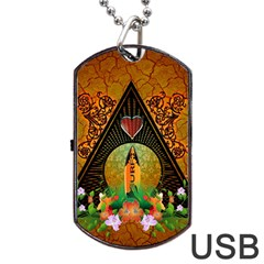 Surfing, Surfboard With Flowers And Floral Elements Dog Tag USB Flash (One Side)