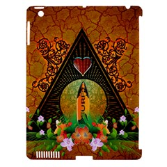 Surfing, Surfboard With Flowers And Floral Elements Apple iPad 3/4 Hardshell Case (Compatible with Smart Cover)